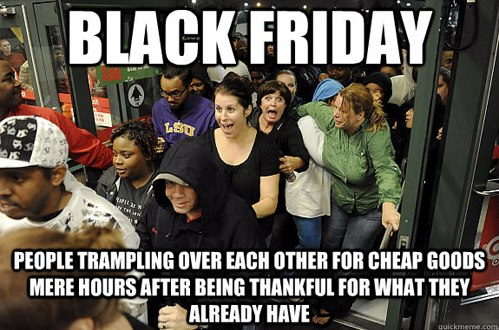 People trample each other for cheap goods mere hours after being thankful for what they already have