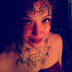 My friend is an amazing face painter. I was her model at a full moon party.